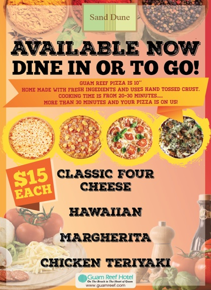 Pizza menu available at Sand Dune!