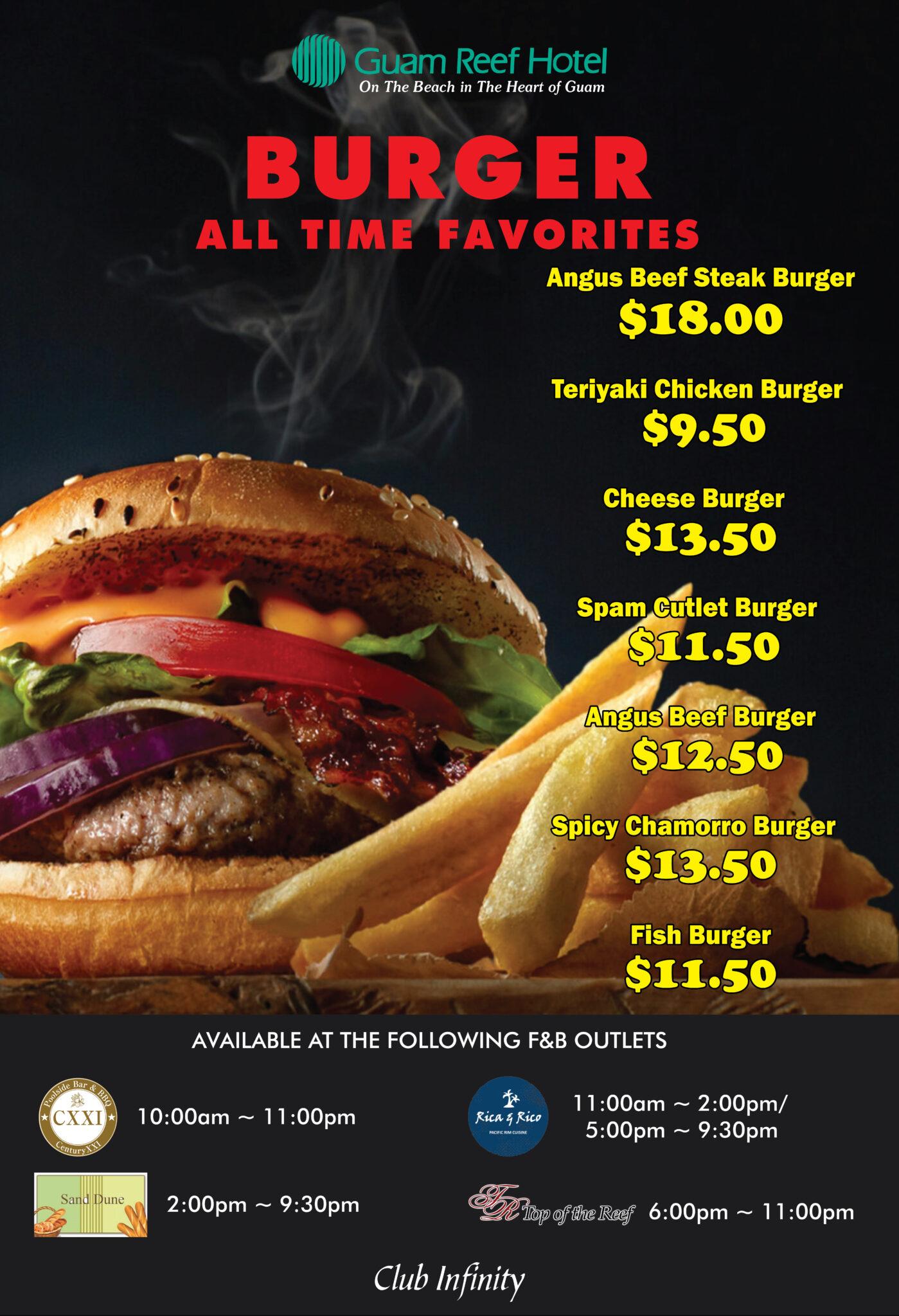 【Restaurants & Bars】Guam Reef's Special Burger Menu